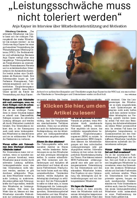 Zeitungsbericht Kayser Personalkonzepte Guller KW 3801